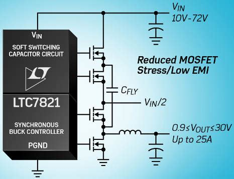 Hybrid dc-dc converter stirs switched capacitor into buck