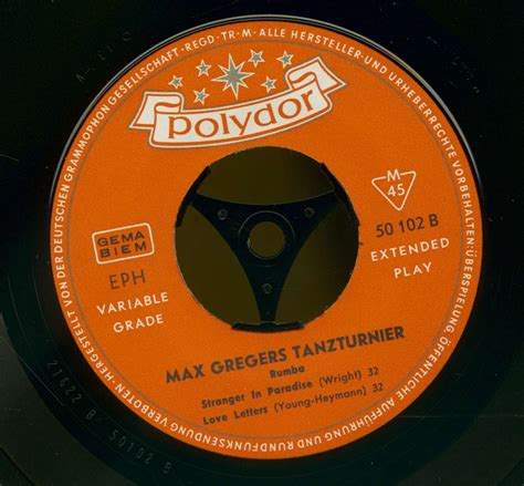 Max Greger's Dance Orchester 7inch: Max Gregers