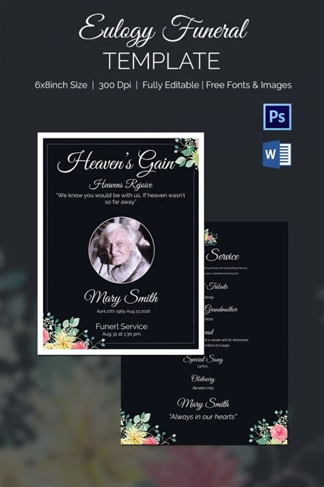 Eulogy Funeral Template - 12+ Word, PSD Format Download