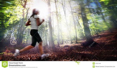 Girl Running In Forest Stock Images - Image: 4101144