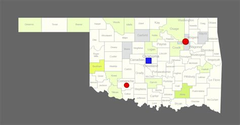 Interactive Map of Oklahoma [Clickable Counties / Cities]