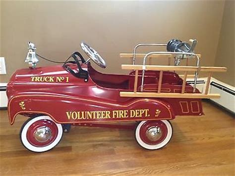 Fire Truck Engine Kids Pedal Car Metal Childrens Pedal